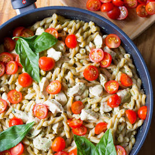 One Pot Chicken Pasta with Light Basil Cream Sauce.
