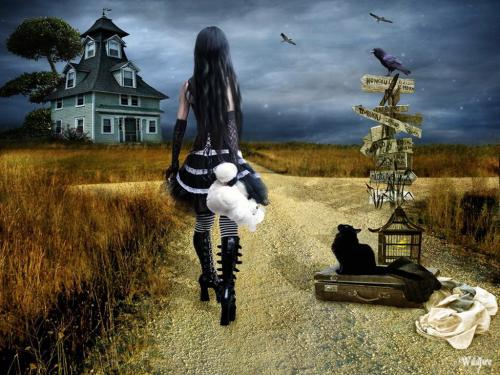 Gothic Cat Girl And House, Gothic Girls