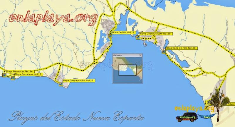 Mapa de Playas del sector Boca de rio