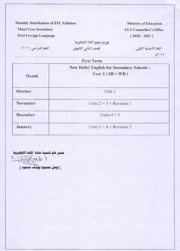 توزيع منهج اللغة الانجليزية الجديد للصف الثاني الثانوي 2020