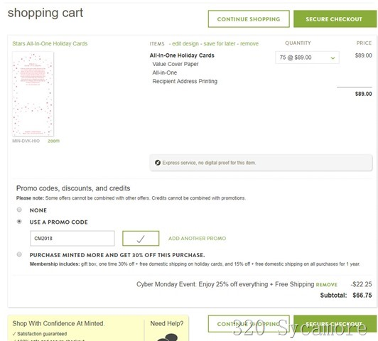minted shopping cart