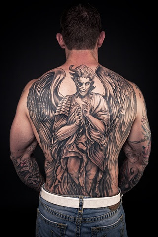 angel tattoo for back