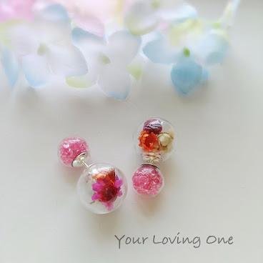 小雛菊雙球耳環(粉紅色珠)