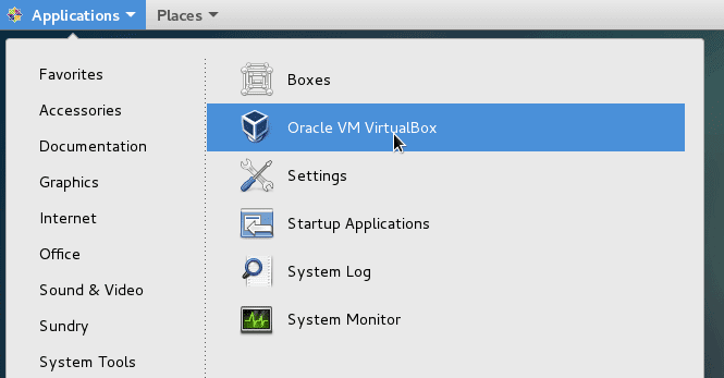 Application menu > system tools