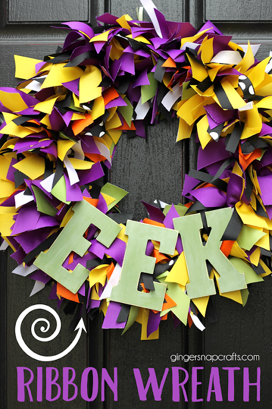 Eek Ribbon Wreath at GingerSnapCrafts.com #wreath #Halloween #ribbon