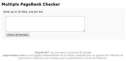 ¿Cómo saber el Pagerank de varias webs al mismo tiempo?