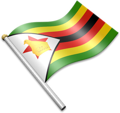 The Zimbabwean flag on a flagpole clipart image