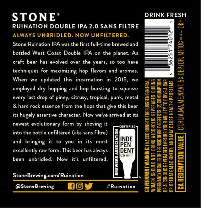 Stone Adding Ruination DIPA 2.0 Sans Filtre & Enter Night Pilsner