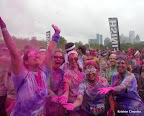 Celebrating at the finish!! Colors everywhere!!