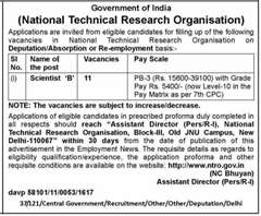 NTRO Scientist Advertisement 2016-2017