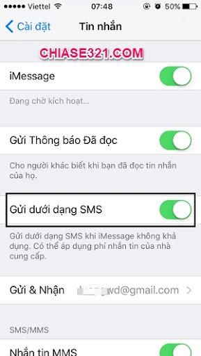 cách bật tin nhắn sms iphone