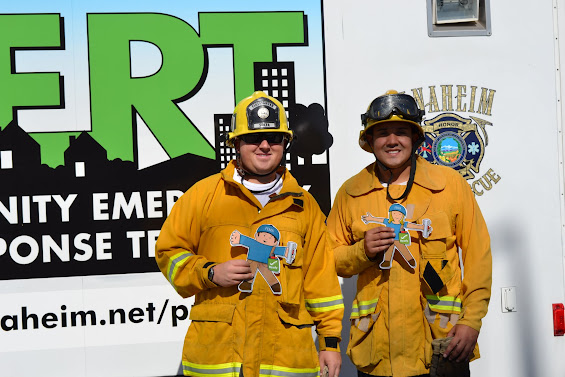 Flat Stanley and Flat Stells with Firefighters.