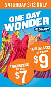 Old Navy One Day Wonder Sale 3/12