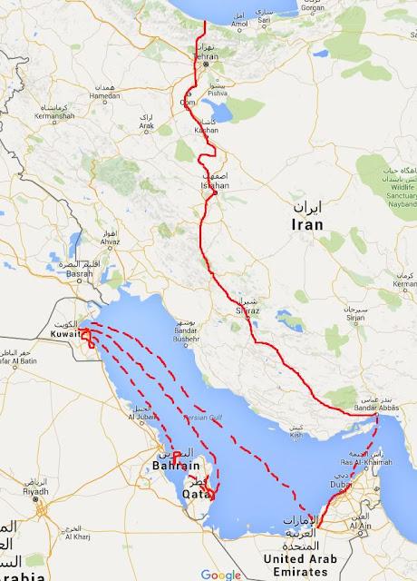 Routen-Karte Iran - Persischer Golf