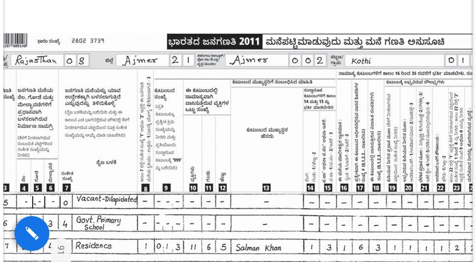India Census-2011 - Instructions Manual for Filling the Household List and Census Bureau
