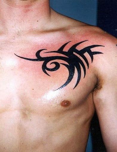 black tribal Chest Tattoos