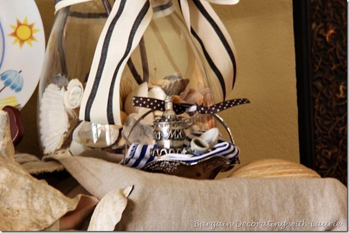 Picnic basket on beach themed mantel