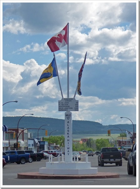 The original Mile Zero monument, now a block away from the true mile zero, Dawson Creek, B.C.