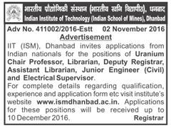 ISM Dhanbad Advertisement 2016-17 www.indgovtjobs.in
