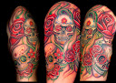 skull-and-roses-tattoo-design-idea8