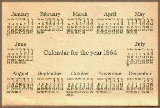 Calendar for the year 1864