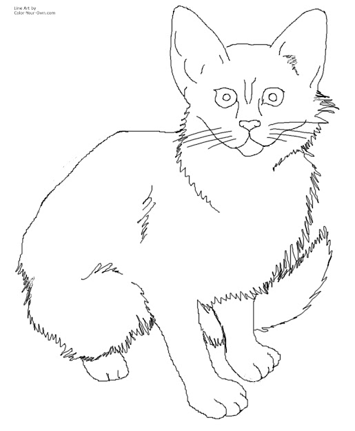 Free Printable Cat And Kitten Coloring Pages Pictures To Pin On Inside Kitten  Coloring Pages