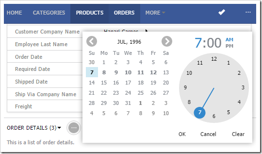 Calendar Input on small screens will cover input and show OK, Cancel, Clear buttons.