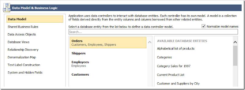 Editing the Orders data model.