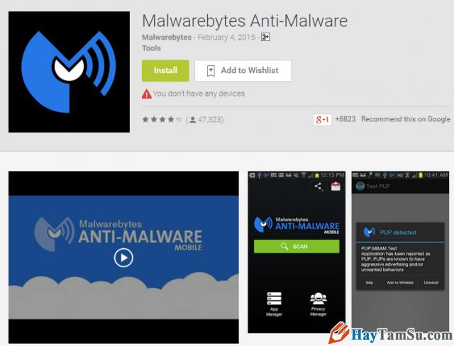 Ứng dụng Malwarebytes Anti-Malware