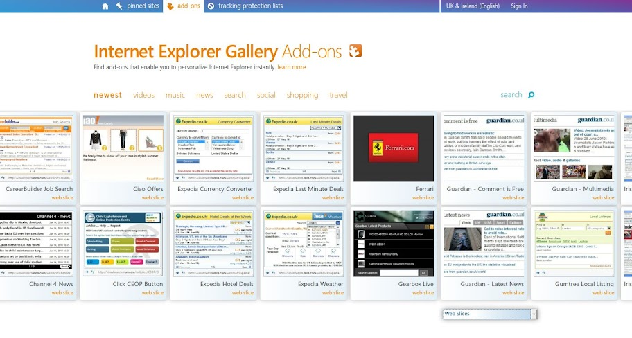IE Web Slices Add-ons page
