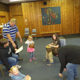 The chasse au coucou included writing a song. This group accompanies their song with ukelele and djembe.