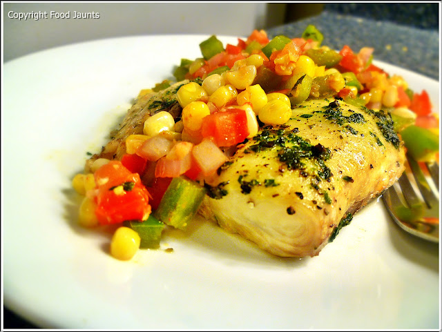 Fish with Pepper, Corn and Vegetable Relish