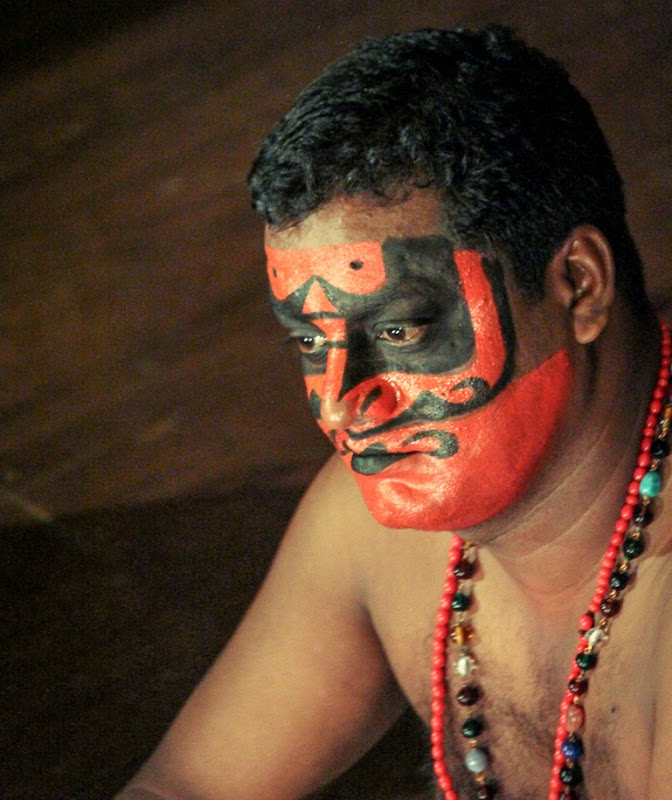 Red evil look of a Kathakali artist
