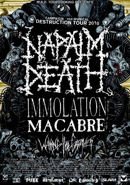 Napalm Death / Immolation / Macabre / Waking The Cadaver @ Le Forum, Vauréal 11/11/2010