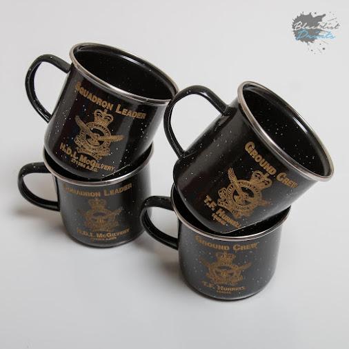 Engraved enamel mugs with Australian Airforce badges. #LaserEngraving  #Enamel  #EnamelMugs  #Mugs...