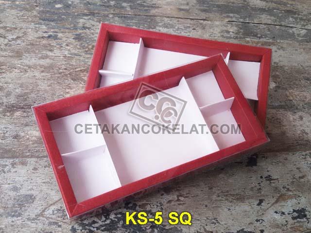kemasan coklat cokelat sekat mika kotak karton KS-5SQ