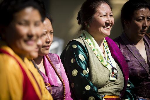 Members of the Tibetan community outside of Maitripa College, Portland, Oregon, U.S., May 10, 2013. Photo by Leah Nash.