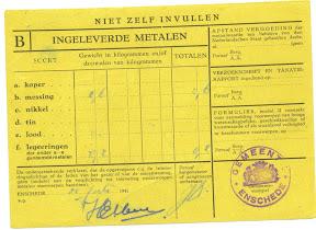 Inleverbewijs metalen - collectie: dhr. Elbersen