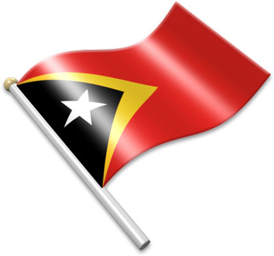 The Timorese flag on a flagpole clipart image