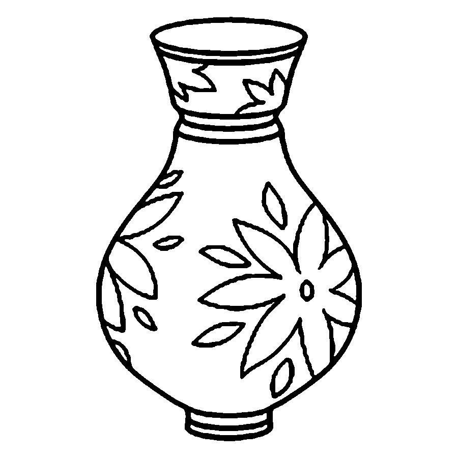 Best Rose Vase Coloring Pages Image