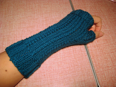 Vertical Weave Fingerless Mittens teal