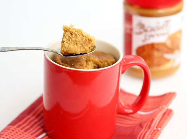 photo of a spoon with a piece of Biscoff Mug Cake