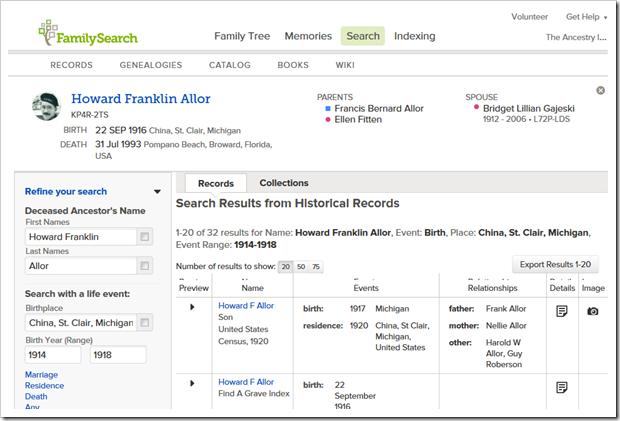 搜索豪兰富兰克林镇海,搜索从Familysearch系列树发起