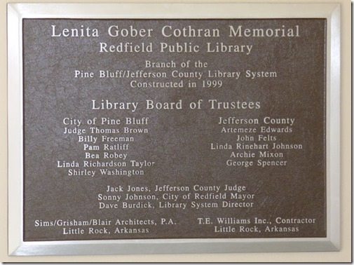Redfield Library Plaque