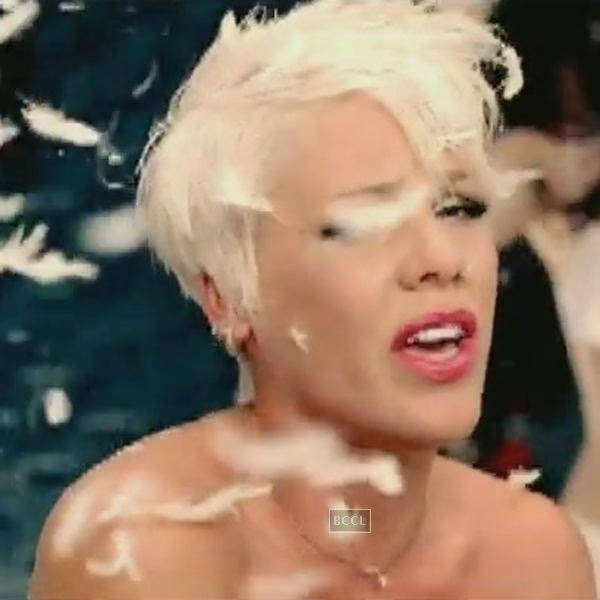 "Pink got naked on the red carpet for the video, ""So What."""