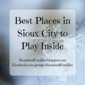 """in background, frost and snowflakes. in foreground the words """"best places to play inside in Sioux City"""""""
