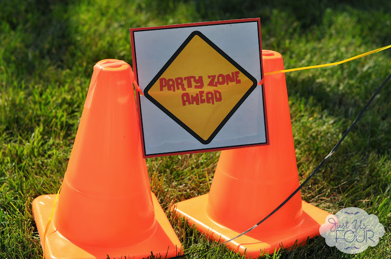 construction birthday party cones