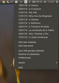 Calendar Indicator - menu