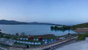 Early morning view of Khanpur Dam & the tent city.