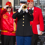 Concluding the Veterans' Day Ceremony at the Montana Veterans Memorial in Great Falls, Toni Taylor of the U.S. Marine Corps Reserve plays the Taps bugle call. The bugle call plays at military funerals, wreath-laying ceremonies, and at sunset on the U.S. bases around the world. Taps was composed in 1862 by bugler Oliver Willcox Norton and Union General Daniel Butterfield. Photo by Jake England.